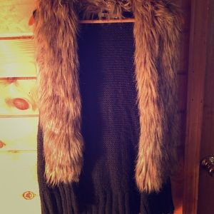 Faux Fur Lined Black Crocheted Vest